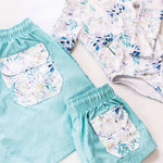 family matching swimwear floral pocket