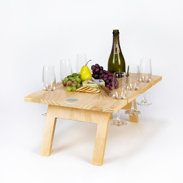 Folding Picnic Table, 6 Wine Glass Slots, Pine