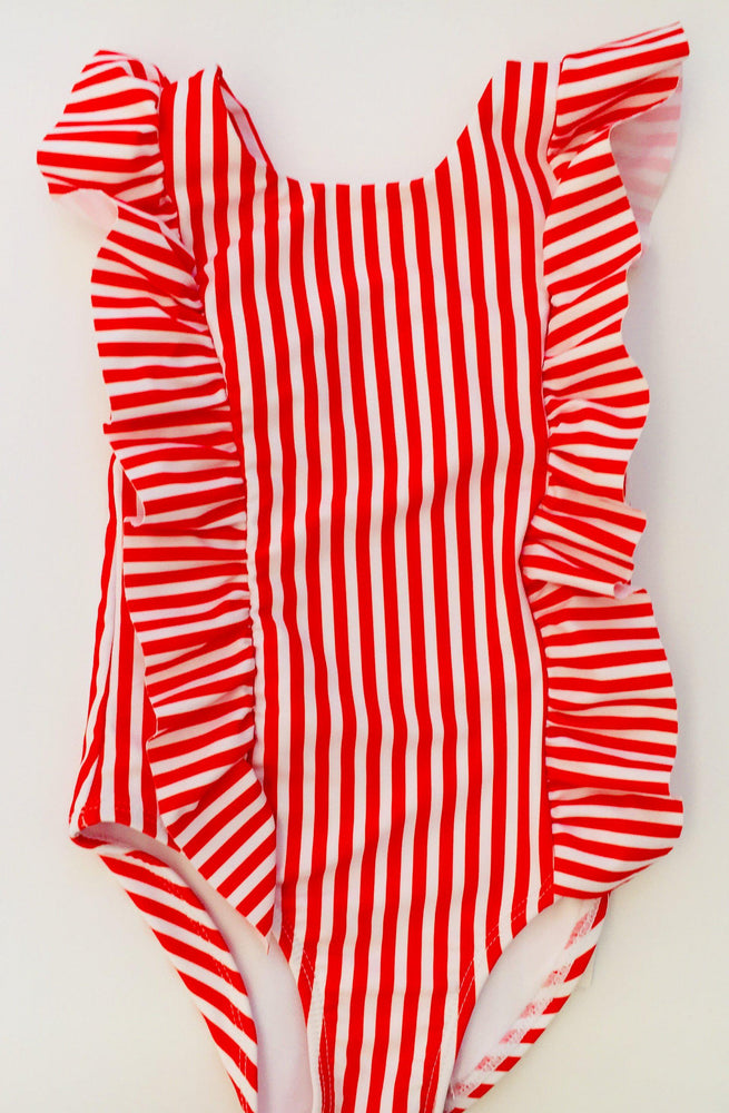 Matching Swimwear, Girls' One Piece Swimsuit, Red and White Classic Stripe