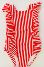 Matching Swimwear, Girls' One Piece Swimsuit, Red and White Classic Stripe - Upper Notch Club