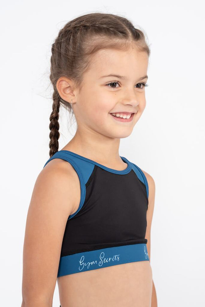 girls gymnastics crop top black