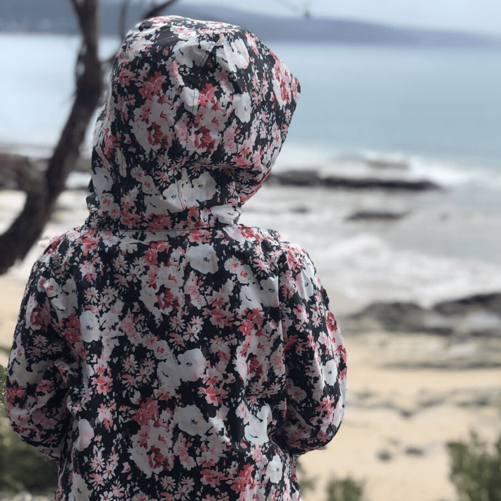 floral girls raincoat sustainable materials paqme