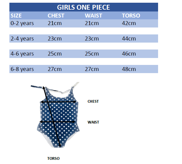 girls swimsuit size guide