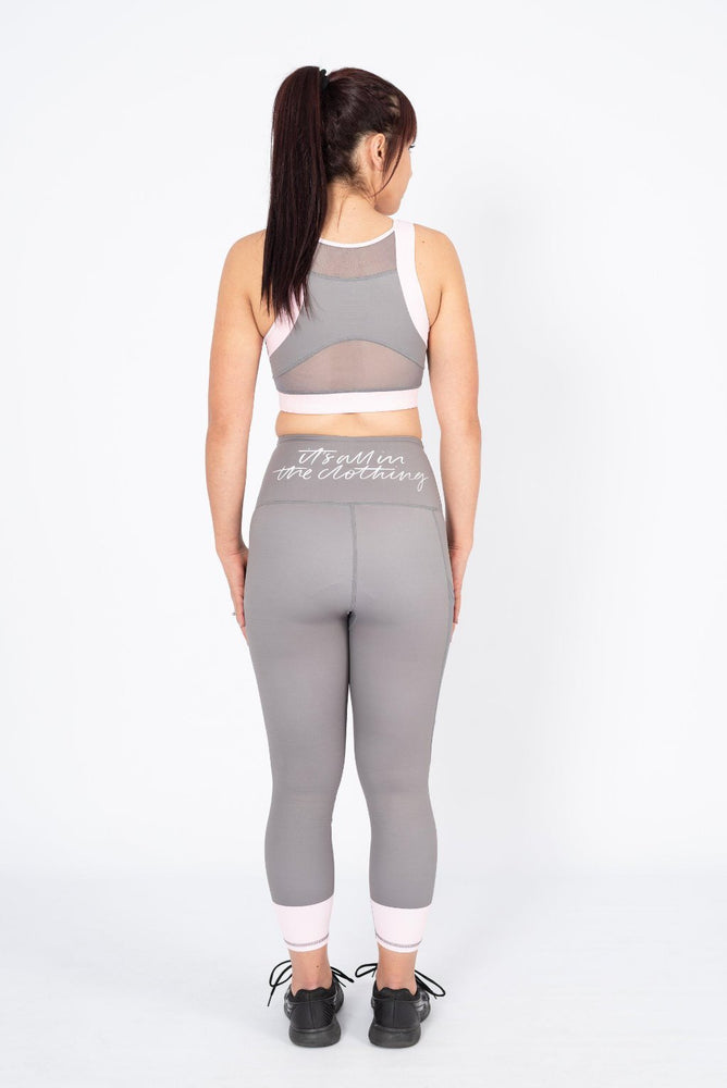 gym secrets sports bra and leggings set stone and blush