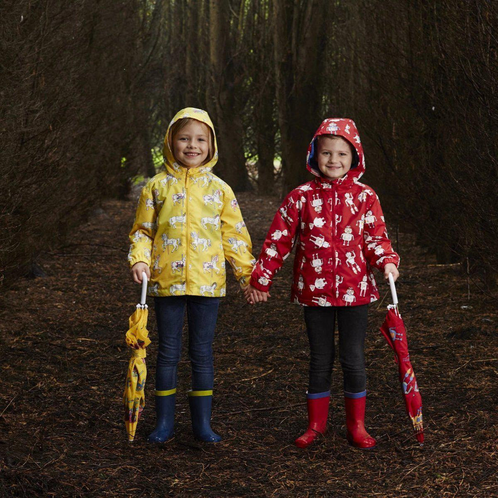 kids' colour changing umbrella yellow carousel design Holly and Beau
