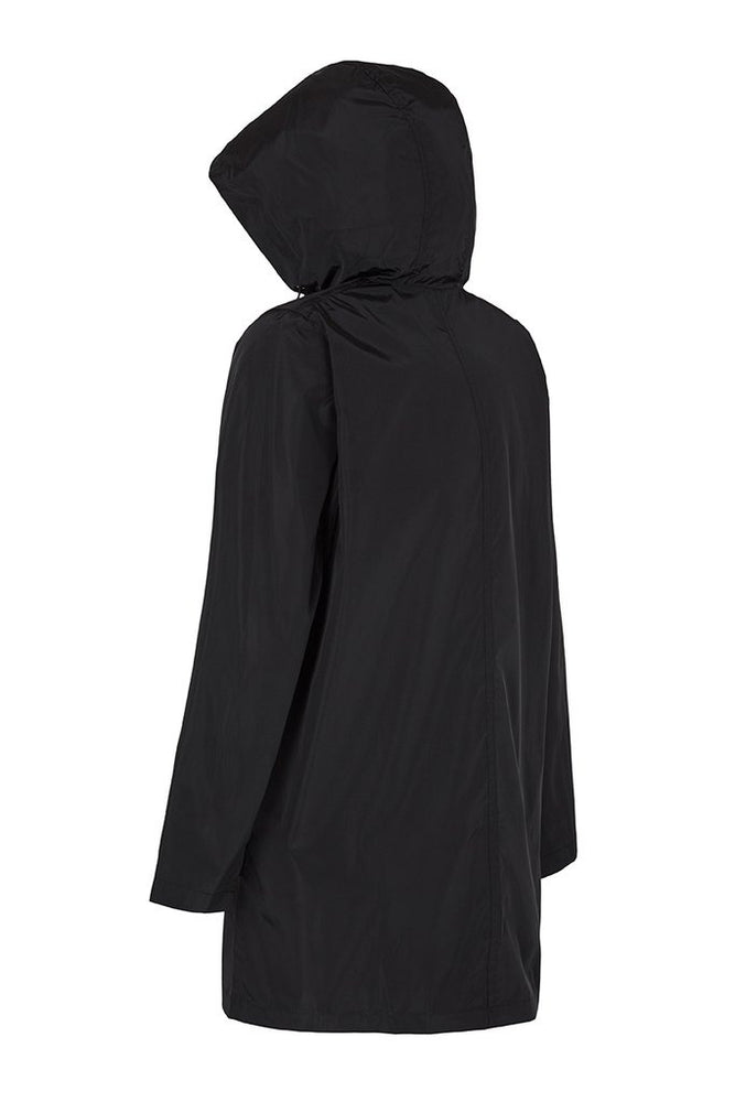 Women's Packable Hooded Rain Jacket, Black, PAQME