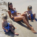 mother and kids matching swimwear floral