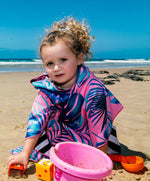 kids beach towel poncho soft sand free pink