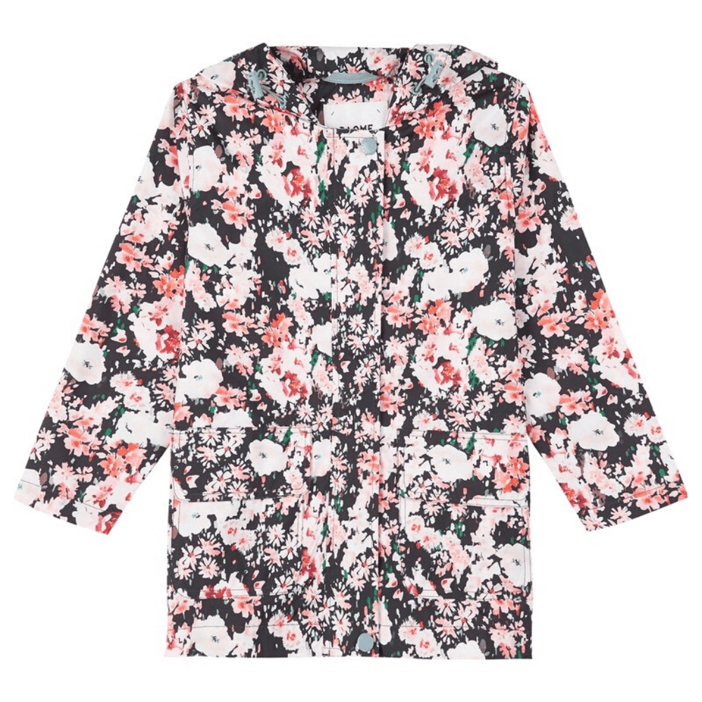 packable rain jacket for girls floral hooded