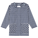 kids raincoat packable recycled navy stripe