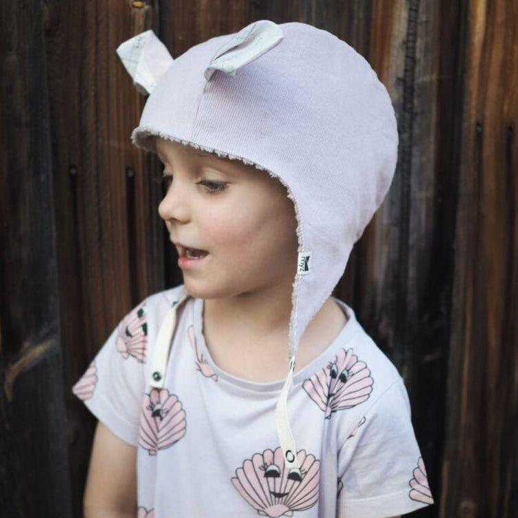 kids winter beanie with straps blush