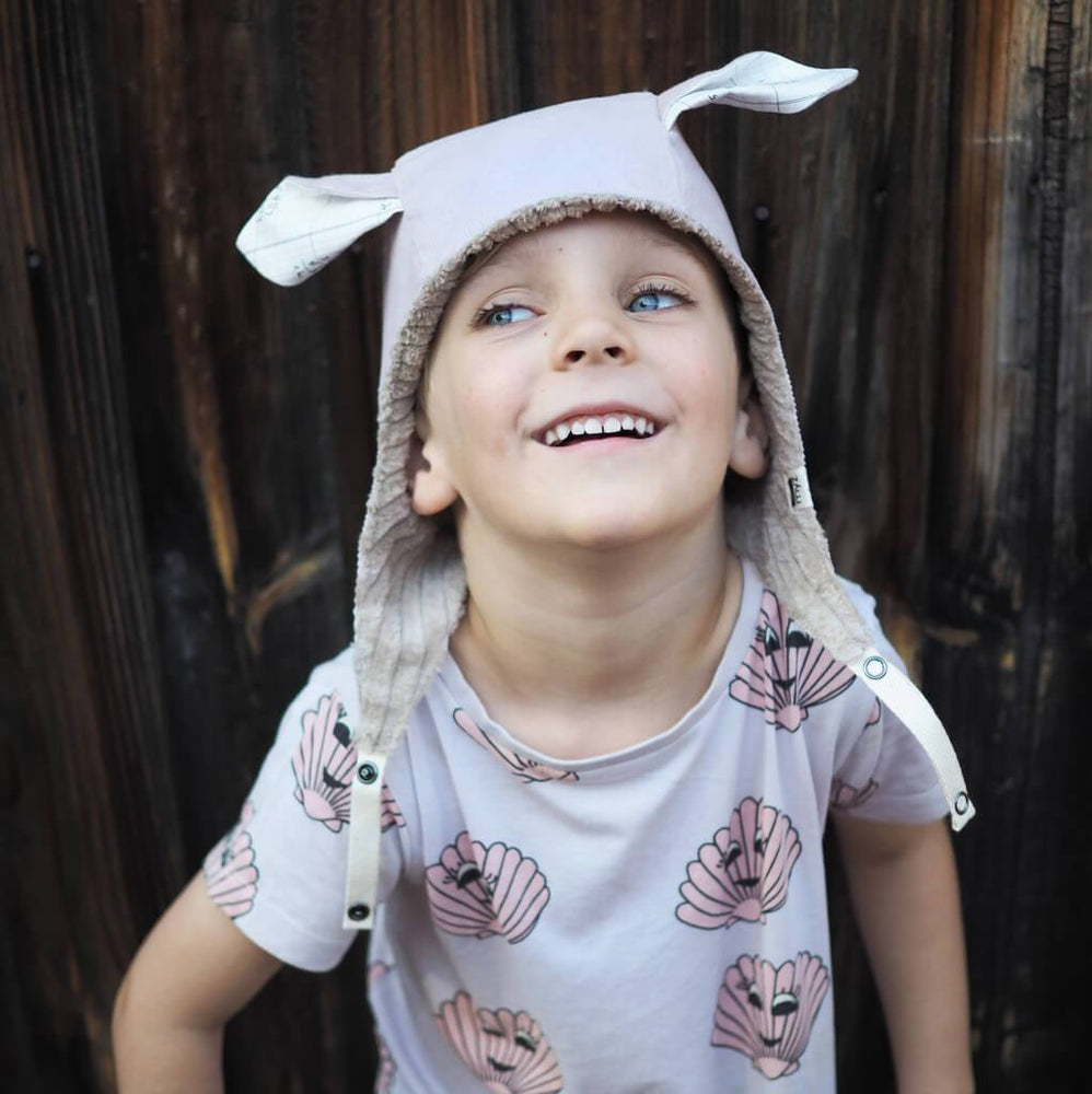 Kids' Winter Beanie with Straps, Bambi, Dusty