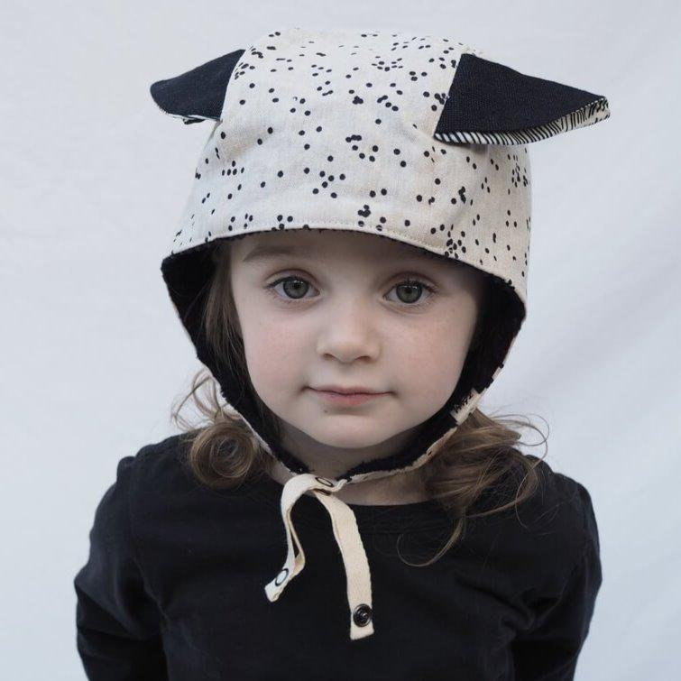 Kids' Winter Beanie with Straps, Bambi, Oatmeal - Upper Notch Club