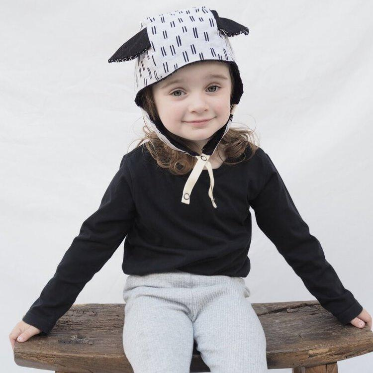 Kids' Winter Beanie with Straps, Bambi, Periwinkle