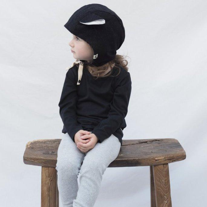 Kids' Winter Beanie with Straps, Bambi, Onyx - Upper Notch Club