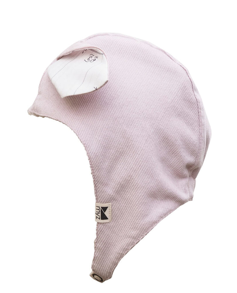 toddler winter beanie with straps light pink