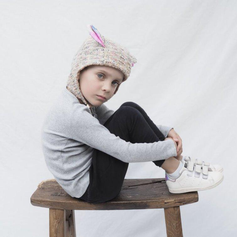 Kids' Winter Beanie with Straps, Bambi, Speckle