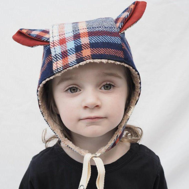 Kids' Winter Beanie with Straps, Bambi, Plaid