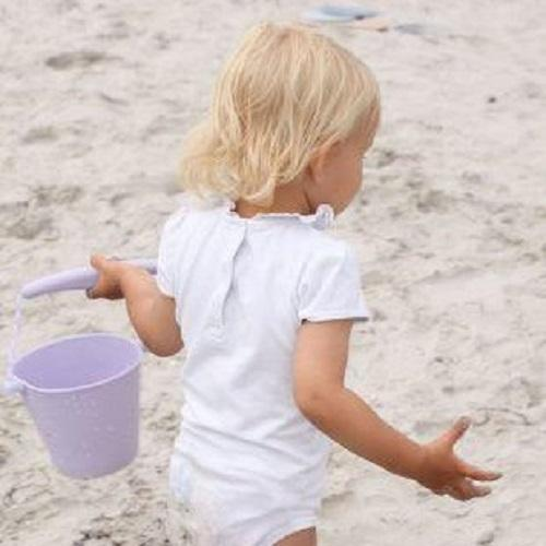 Beach Toy Set, Scrunch Bucket, Spade and Moulds, Lilac