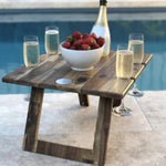 folding wooden picnic table 4 wine glass slots Indi Tribe Collective