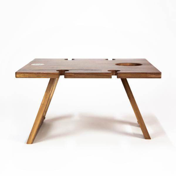 wooden picnic table 4 wine glass slots Indi Tribe Collective