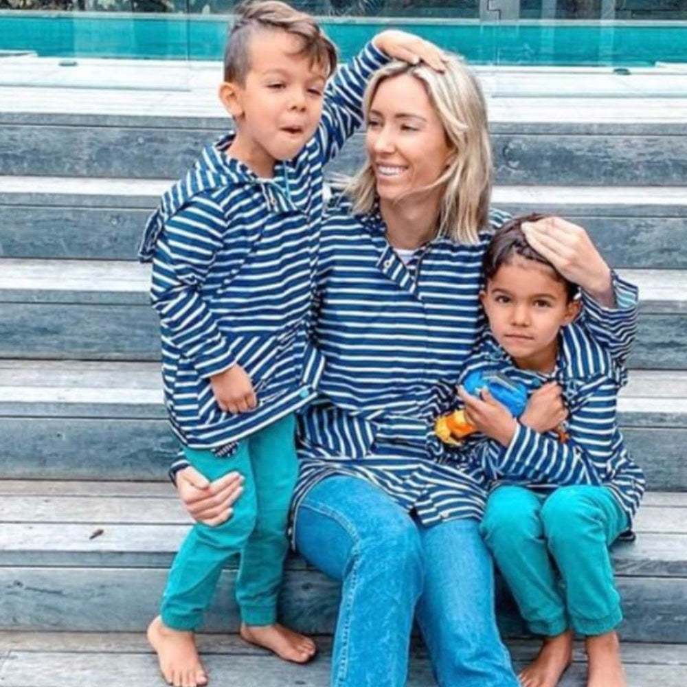 Kids Recycled Packable Rain Jacket, Navy Stripe, PAQME - Upper Notch Club