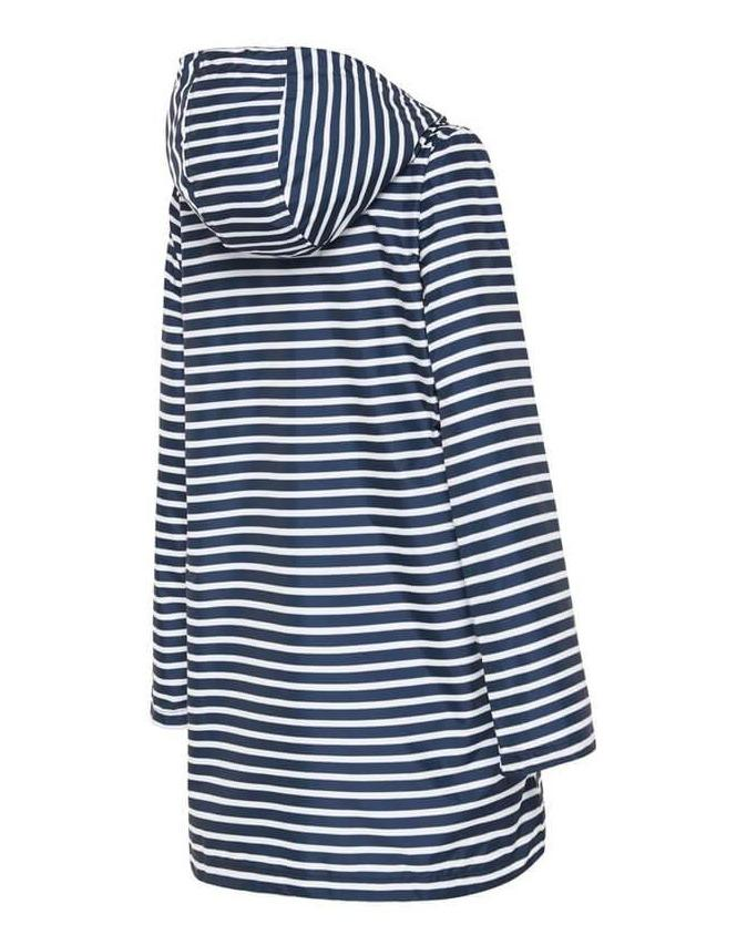 lined and hooded raincoat for women navy stripe recycled