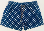 Matching Swimwear, Men's Board Shorts, White on Navy Polka Dots