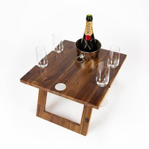Folding Picnic Table, 4 Wine Glass Slots, Hardwood
