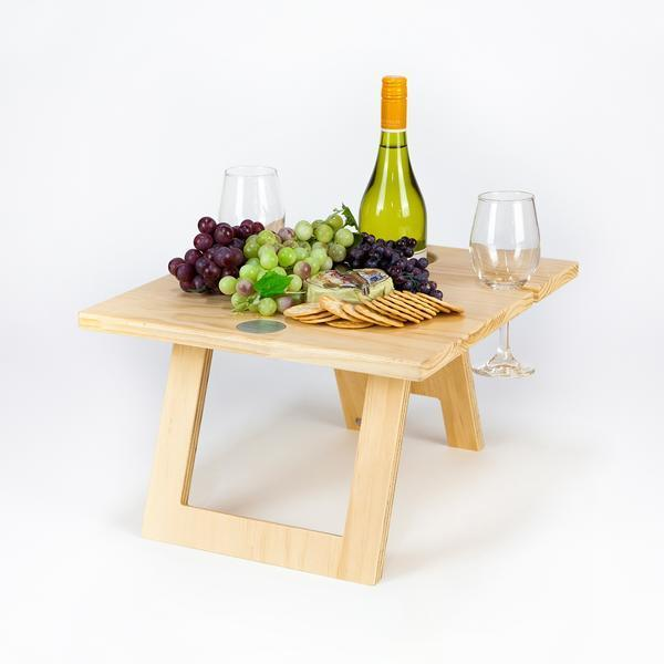 Folding Picnic Table, 2 Wine Glass Slots, Pine