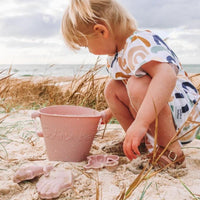 Beach Toy Set, Silicone Bucket, Spade and Moulds, Blush
