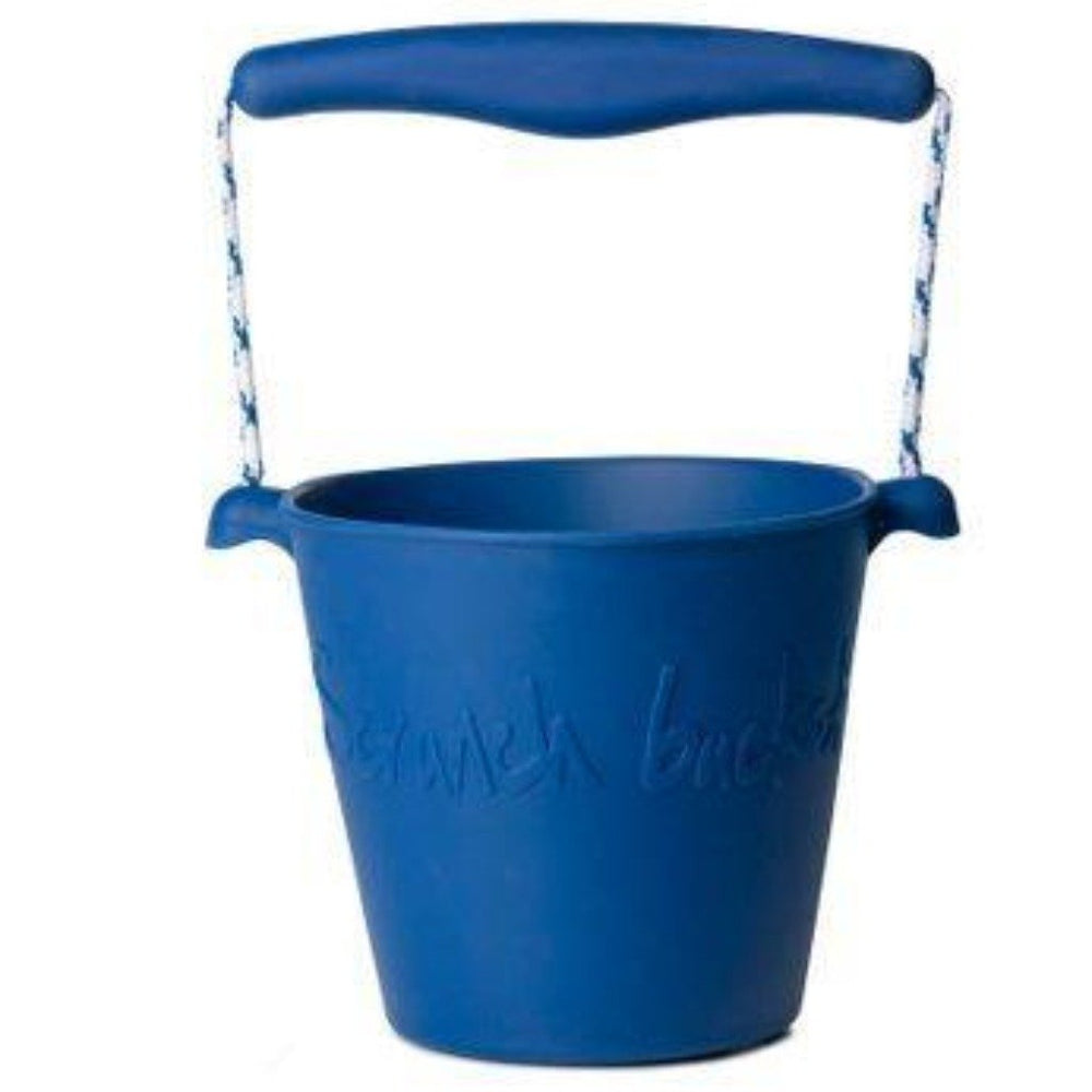 NEW - Beach Toy Set, Scrunch Bucket, Spade and Moulds, Midnight Blue