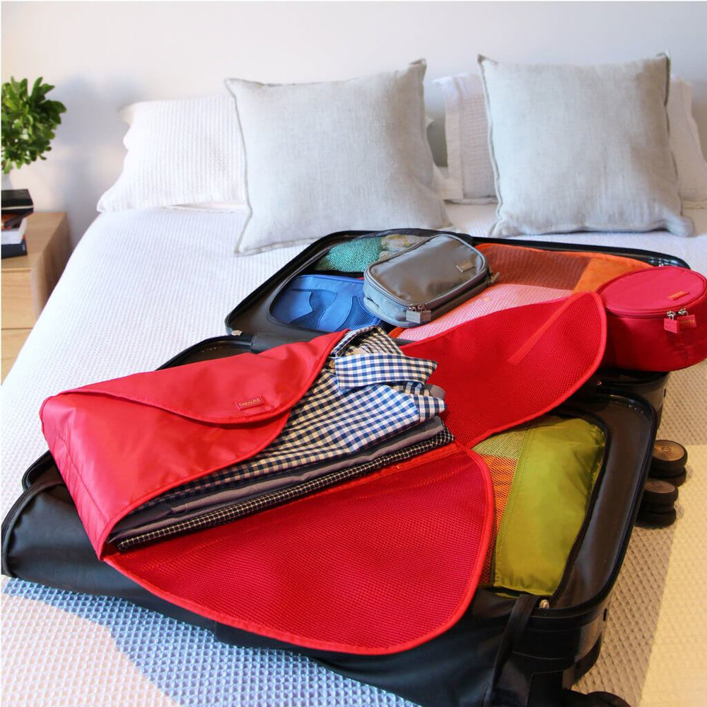 luggage organiser shirt pack red