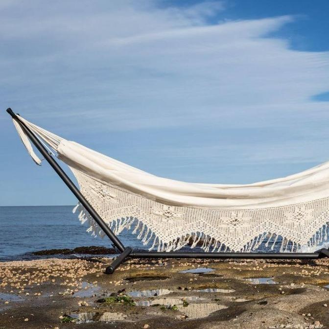 Hammock with Stand, Hippie, White