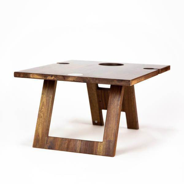 low wooden picnic table 2 wine glass slots Indi Tribe Collective