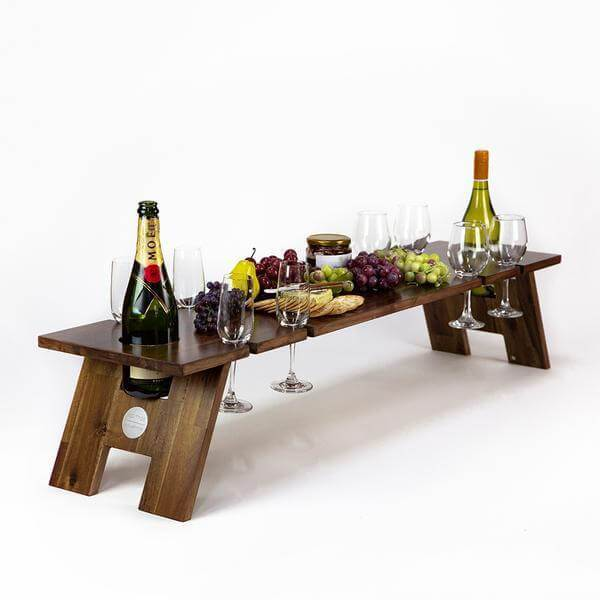 Folding Picnic Table, Luxe, 8 Wine Glass Slots, Hardwood