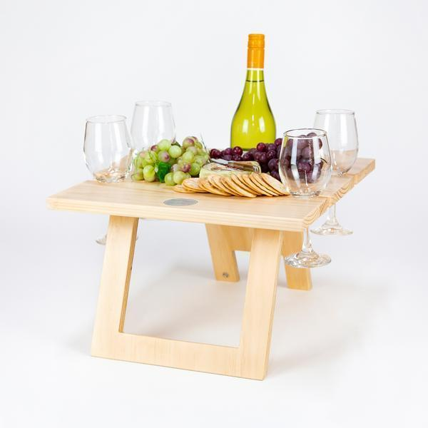 Folding Picnic Table, 4 Wine Glass Slots, Pine