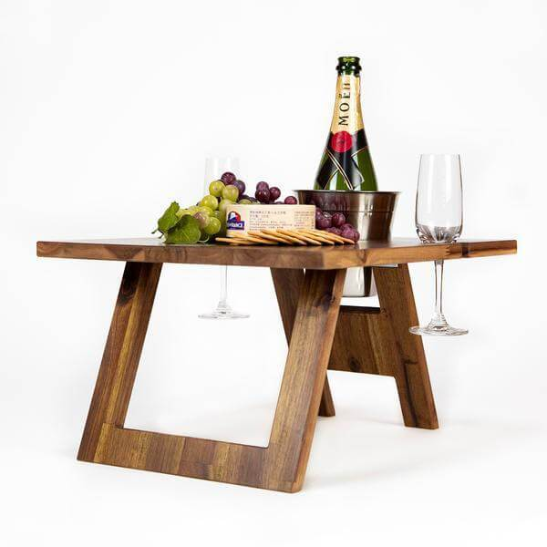 Folding Picnic Table, 2 Wine Glass Slots, Hardwood