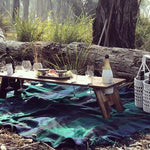low picnic table 8 wine glass slots Indi Tribe Collective