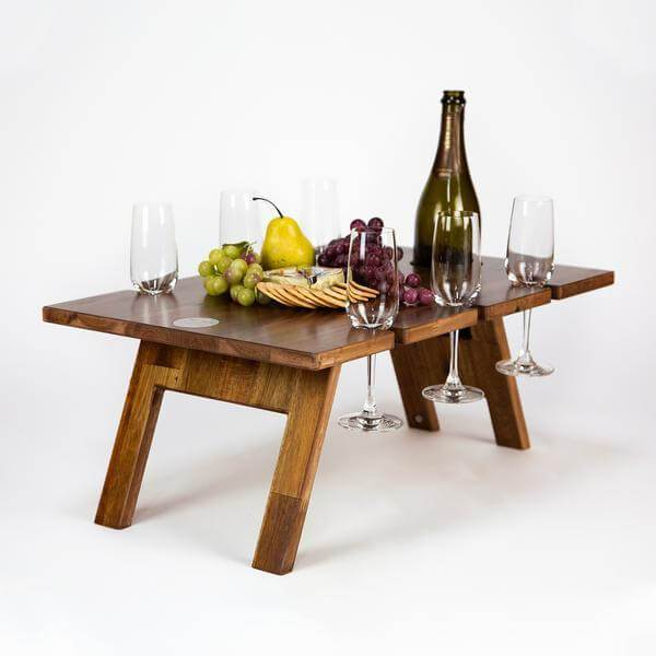 Folding Picnic Table, 6 Wine Glass Slots, Hardwood