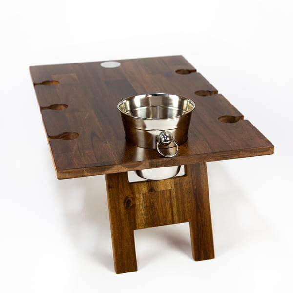 folding wooden picnic table with 6 wine glasses slots Indi Tribe Collective