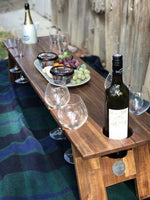 long picnic table 8 wine glass slots Indi Tribe Collective
