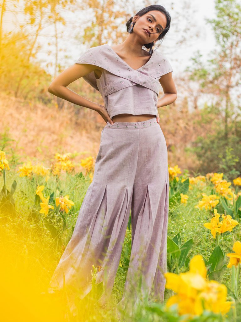 Cross Yoke Top & Wide Legged Pants Set In Lilac Front