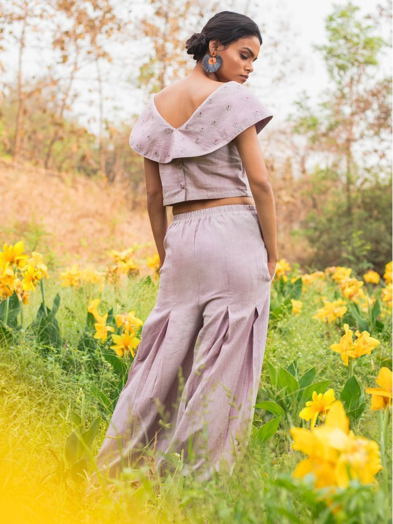 Cross Yoke Top & Wide Legged Pants Set In Lilac Back