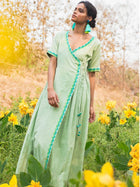 Cross Body Tie Up Dress Green Front