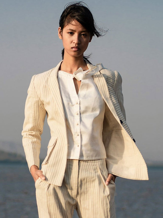 Pin Stripe Jacket - JACKETS - IKKIVI - Shop Sustainable & Ethical Fashion