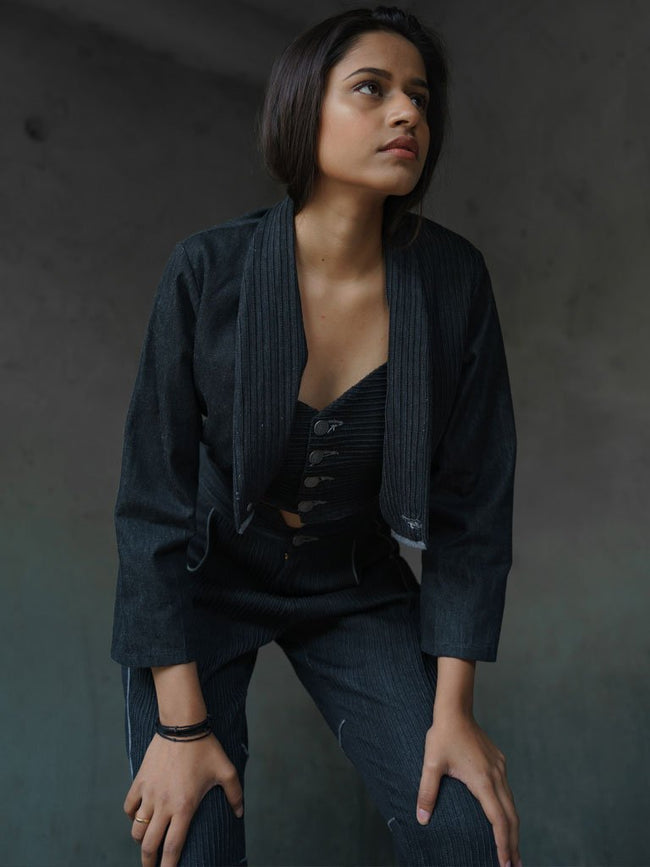 Sturdy handloom denim cropped blazer - JACKETS - IKKIVI - Shop Sustainable & Ethical Fashion