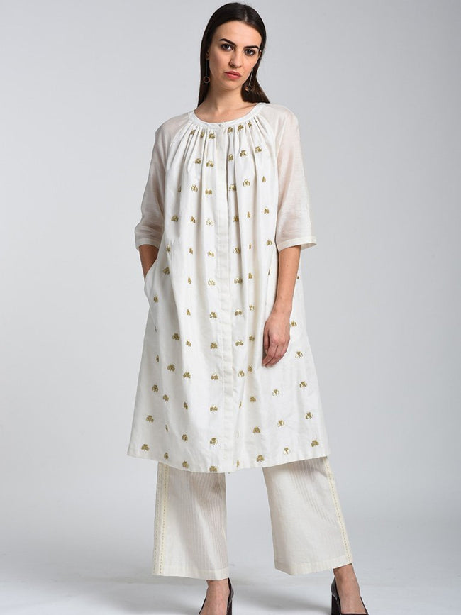 Raglan Sleeve Embroidered Dress - DRESSES - IKKIVI - Shop Sustainable & Ethical Fashion