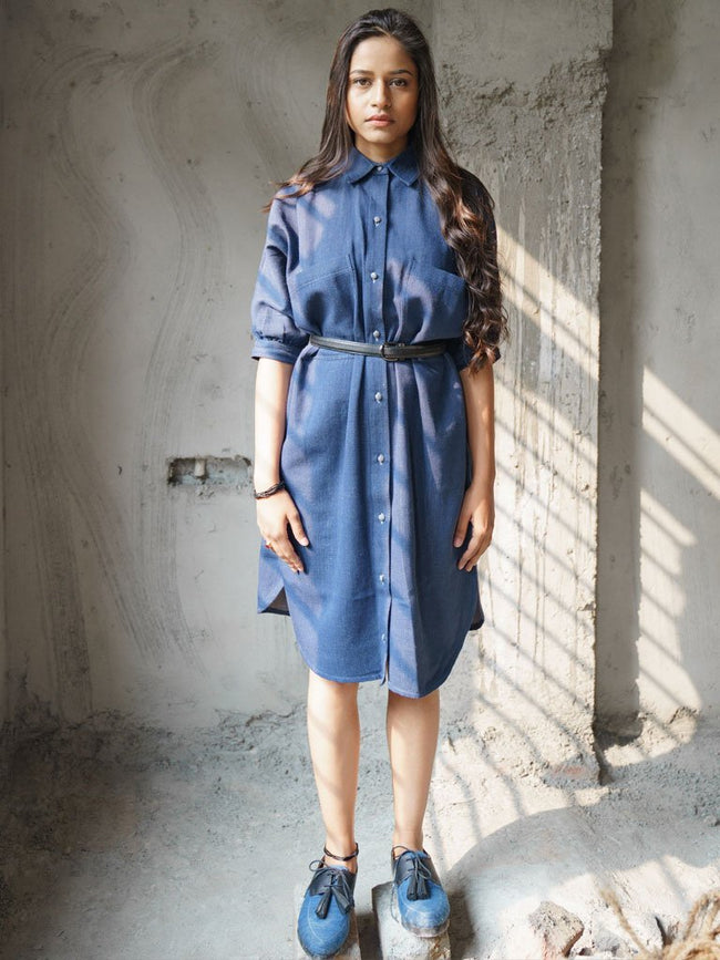 Classic indigo hue handloom denim chic shirtdress - DRESSES - IKKIVI - Shop Sustainable & Ethical Fashion