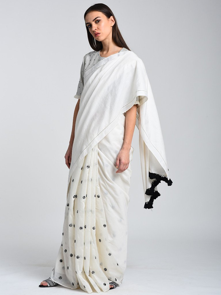 Monochrome Saree With Embroidery